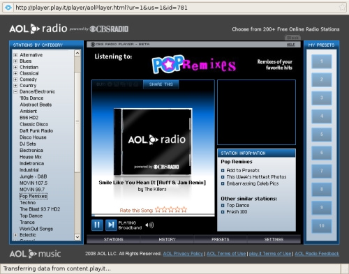 This is a screenshot of AOL Radio powered by CBS Radio